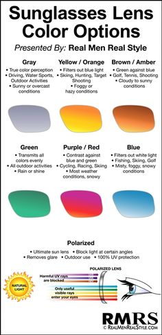 Different lens colors provide an array of different looks and cause your eyes to react differently to varying light.