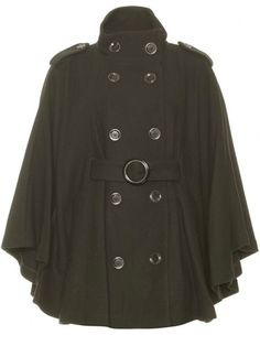 """Zoe's """"Caped Crusader"""" - Double-breasted wool cape with buttons, shoulder details, and belted waist Coats Women Next Clothes, Kinds Of Clothes, Coats For Women, Jackets For Women, Mature Women Fashion, Military Fashion, Military Style, Military Green, Fashion Articles"""