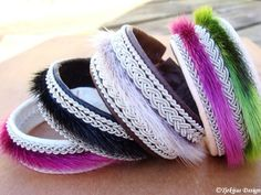 Spring 2013 Collection from Tjekijas Design - Sami Lapland Swedish Reindeer Leather Bracelets with Sealskin in stunning colors.
