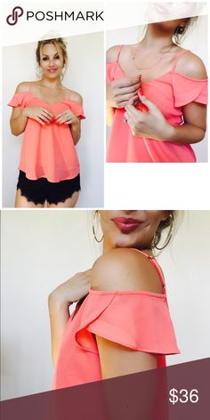 LAST Large! So cute! I had to keep one for myself! So easy to wear! Great material, non sheer, light weight, 100% polyester. Runs true to size. Color is Coral. Bohemian Sea Tops Blouses