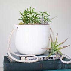 White Hanging Planter   dotandbo.com