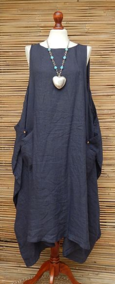 LAGENLOOK LINEN OVERSIZE LAYERING LONG TUNIC-DRESS*DUSTY NAVY*SIZE L-XL-XXL in Clothes, Shoes & Accessories, Women's Clothing, Dresses | eBay