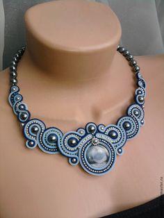 """Купить Колье """"Ундина 2"""" - голубой, сутажные украшения, сутажное колье, украшения ручной работы"""