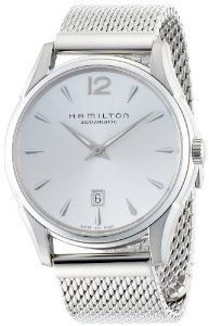 Hamilton Men's H38615255 Jazzmaster Silver Dial Watch Hamilton. $608.48. Scratch resistant sapphire crystal protects watch from scratches,. Stainless steel watch. Automatic-self-wind movement. Water-resistant to 200 M (660 feet). Case diameter: 43 mm