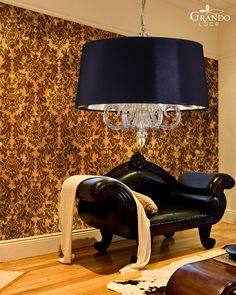 109 SM gold leaf crystal pendant light combined with pvc black gold lamp shade Crystal Pendant Lighting, Black Pendant Light, Pendant Lights, Gold Lamp Shades, Shades Of Black, Gold Leaf, Black Gold, Living Spaces, Table Lamp