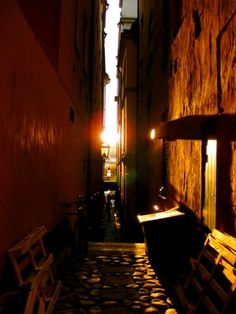 Stockholm's narrowest street in Gamla Stan, the old town