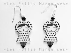 Little dolls earrings made of shrinking plastic and sterling silver by lesfollesmarquises Diy Shrink Plastic, Small Cafe Design, Shrink Art, Plastic Doll, Kids Necklace, Bakery Design, Shrinky Dinks, Ceramic Jewelry, Metal Wall Art
