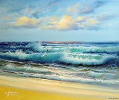 Caribbean Seascape Paintings | ... -Caribbean-Sea-Surf-Waves-Beach-Sunset-Stretched-20X24-Oil-Painting:
