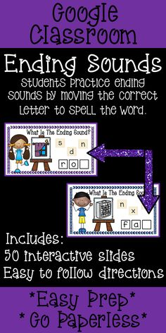 Teachers, are you looking for literacy center ideas to teach ending sounds? Students use Google Classroom Ending Sounds to practice phonemic awareness in small groups, independent centers or homework. {kindergarten, first grade, teaching ideas, reading, centers}