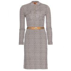 Tory Burch Hadley Printed Satin-Jersey Dress (€245) ❤ liked on Polyvore featuring dresses, day dresses, pondcake kamet, elastic dress, tory burch dresses, white dress, white day dress and tory burch