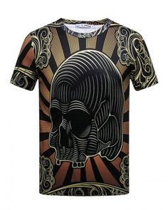 12f7fad02e4016 3d striped skull t shirt for men plus size Casual Shirts