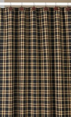 Cambridge Shower Curtain From Park Designs. Cotton Fabric In Black,  Cranberry And Cream Plaid. Shower Curtains Have Sewn Buttonholes For  Hanging From Showe