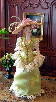 """Dollhouse Miniature 1:12 Scale Artisan Made Dollhouse Doll """"Faith"""". $125.00, via Etsy."""