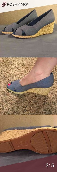 "Blue/denim wedges by Chaps, never worn Size 7.5, never worn blue wedges by Chaps. 3"" heel Chaps Shoes Wedges"
