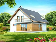 DOM.PL™ - Projekt domu DN DIONA BIS CE - DOM PC1-37 - gotowy koszt budowy Malaga, Outdoor Structures, Cabin, House Styles, Home Decor, Home Plans, Little Cottages, Modern, Decoration Home
