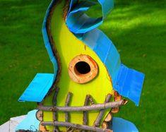 bird house, birdhouse, Curvy Lady Birdhouse available in color options by PapaJonsflyinns on Etsy Large Bird Houses, Bird Houses Painted, Decorative Bird Houses, Bird Houses Diy, Fairy Houses, Painted Birdhouses, Bird House Plans, Bird House Kits, Galvanized Metal Roof