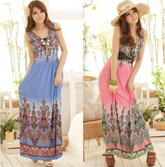 Bohemia Printing Waist V-neck Jumpsuit Dress #0072 #Handmade