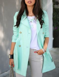 I love this color! }} Mint Green Trench Coat - Love xoxo