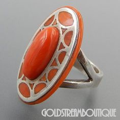 Native American Vintage Zuni Pueblo DJS Sterling Silver Coral Mosaic Inlay Oval Dome Ring - Size 8