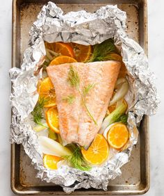 Oven-Baked Salmon with Clementines and Fennel.