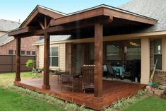 The wooden pergola is a good solution to add beauty to your garden. If you are not ready to spend thousands of dollars for building a cozy pergola then you may devise new strategies of trying out something different so that you can re Covered Patio Design, Covered Back Patio, Covered Pergola, Backyard Covered Patios, Outdoor Patios, Canopy Outdoor, Outdoor Rooms, Covered Deck Designs, Deck Canopy