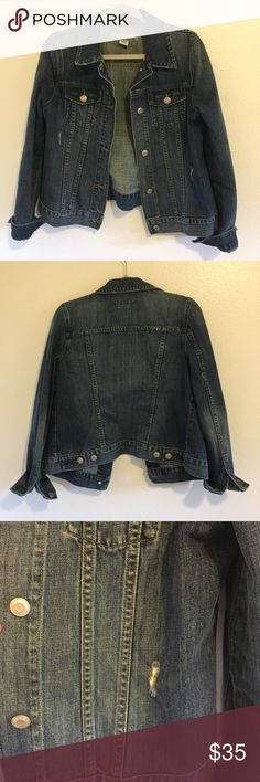 Old Navy maternity lightly distressed Jean jacket✨ Maternity jean jacket passed down by my mom  I liked to use it as an oversized jacket but I've acquired many jean jackets so I'm selling it   100 % cotton  In excellent condition Old Navy Jackets & Coats Jean Jackets