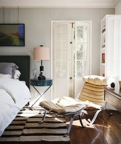 Mark and Sunrise Ruffalo's Bedroom in their Hollywood Hills Residence. Design by Nickey Kehoe Inc. Photographed for Domino magazine