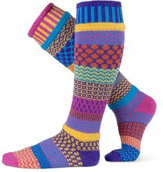 MADE IN USA..Solmate Socks - Mismatched Knee High Socks for Women or for Men; Made in USA; Carnation Large