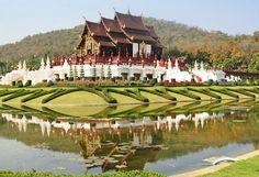 Thai wood temple in chiangmai Thailand