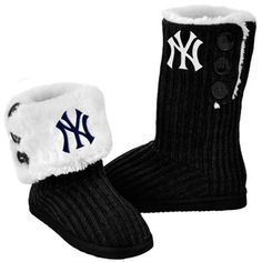 New York Yankees Ladies Knit High End Button Boot Slippers - Black.... xmas maybe Mom!!!