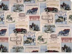 Piekna tkanina dekoracyjna, stare samochody, mieszanka kolor