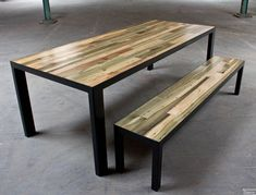 Sweet table from District Millworks. They make these from steel tubing and reclaimed scraps from the shop. Welded Furniture, Steel Furniture, Table Furniture, Furniture Projects, Furniture Design, Modern Furniture Online, Vintage Cafe, Dining Table Chairs, Diy Table