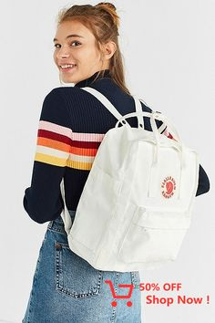 Urban Outfitters Trendy White Fjallraven X UO Kanken Backpack - Christmas-Desserts Mochila Kanken, Kanken Backpack, Addidas Backpack, Cute Backpacks For School, Trendy Backpacks, Womens Fashion Online, Latest Fashion For Women, Accessoires Iphone, White Backpack