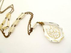 Czech Necklace Art Deco Glass Etched Pendant by estatechicago, $98.00
