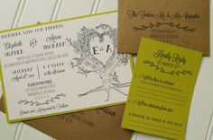 These wedding invitations are perfect for a woodland wedding or eco wedding. They feature bold, modern fonts, and a lovely hand-drawn oak tree, which is personalized with the couples initials. So unique and charming!  While these are shown with chartreuse green accents, I can make them in nearly any color- red, yellow, mint, pink, etc... Just contact me with your color requests!   PRODUCT DETAILS: ------------------------ • Printed on quality 110 # cream cardstock • Matted on quality…