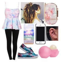 """how I'm feelin' 2day"" by ashanti-11 ❤ liked on Polyvore featuring Pieces, Vans, Free People, Oasis and Eos"