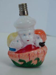 Vintage Three Men in a Tub Figural Milk Glass Christmas Light Bulb