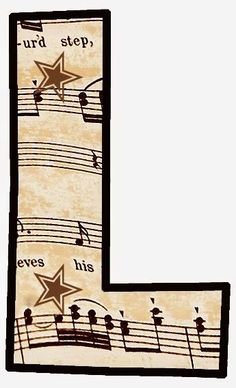 """ArtbyJean - Vintage Sheet Music Alphabet """"L"""" Vintage Sheet Music, Vintage Sheets, Music Letters, Make Your Own Card, Music Party, Alphabet And Numbers, Alphabet Letters, Music Classroom, Music Notes"""