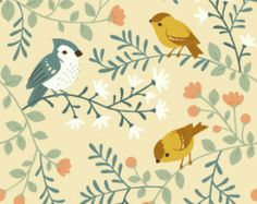 Fabric, Birds and Branches Cream, Acorn Trail, Birch Fabrics, Organic, Quilting Cotton, Craft Supplies & Tools, Sewing Supplies