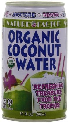 Nature Factor Organic Young Coconut Water, 10-Ounce Cans (Pack of 12) by Nature Factor, http://www.amazon.com/dp/B002HZEDY0/ref=cm_sw_r_pi_dp_GbKpsb0R9N8RQ
