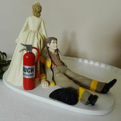 Fireman firefighter Wedding Cake Topper uniform by ColoradoCarla, .... This would be his choice LOL