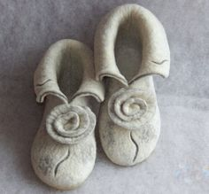 Felted slippers White and grey White and burgundy Women house shoes Valentines day gift