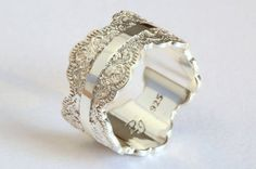Unique Silver Wedding Band with Lace Texture Wide Silver Ring Silver Wedding Ring Silver Lace Ring Women Wedding Ring Wide Wedding Band - April 27 2019 at Wide Wedding Bands, Cool Wedding Rings, Beautiful Wedding Rings, Wedding Rings Vintage, Wedding Rings For Women, Bridal Rings, Trendy Wedding, Gold Wedding, Tiffany Wedding