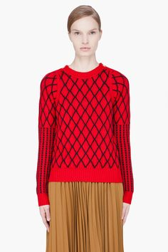 KENZO red quilted knit sweater