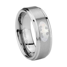 Leanne this is what I'm thinking for Patrick's ring batman wedding ring | 5MM Tungsten Carbide Step Edge BATMAN Laser Engraved Wedding Ring