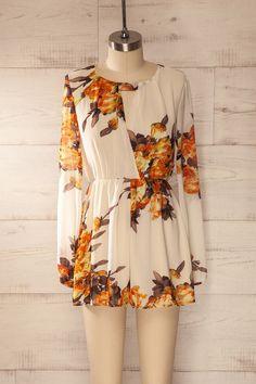 Almeria - Cream and rust floral print veil romper #beige #cream #floral #longsleeves #onepiece #orange #plungingneckline #romper
