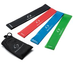 Resistance Loop Bands – Set of 4 or 5 Exercise Bands for Improving Mobility and Strength, Yoga, Pilates or for Injury Rehabilitation – Suitable for Women and Men – Made From Natural Latex Material Workout Gear, Gym Workouts, At Home Workouts, Band Workouts, Resistance Loop Bands, Resistance Band Exercises, Loop Band Exercises, Scoliosis Exercises, Resistance Bands