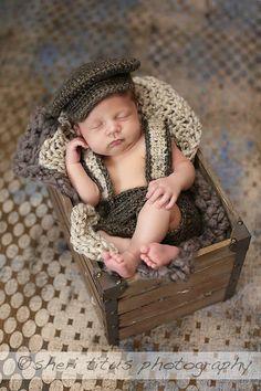 Crochet Baby Newborn Newsboy Set Diaper cover with by TwoBearsKnit, $40.00