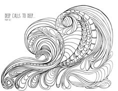 LostBumblebee ©2015 MDBN :: Grown Up Colouring Coloring Sheets :: Wave :: Free- Donate to download- Printable : Personal Use Only.