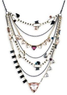 ABS by Allen Schwartz Jewelry Layered Stone-Accented Statement Necklace##0nly one piece